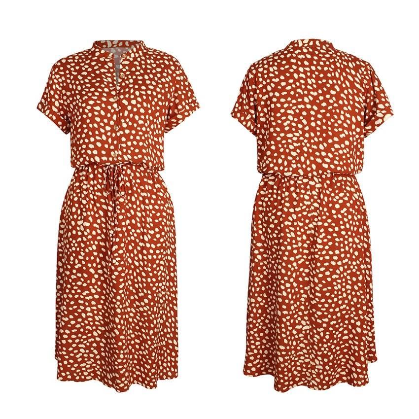 Dots Print White Short Sleeve Tunic Vintage Boho Beach Midi Dress 12