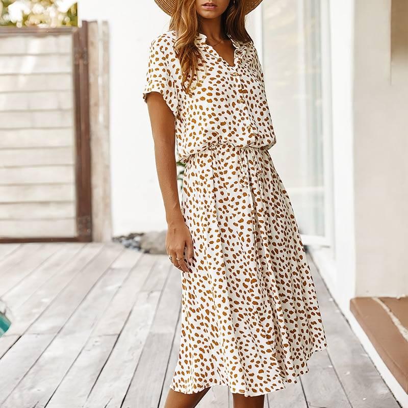 Dots Print White Short Sleeve Tunic Vintage Boho Beach Midi Dress 9