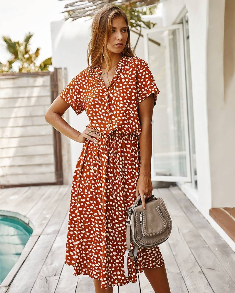 Dots Print White Short Sleeve Tunic Vintage Boho Beach Midi Dress 11