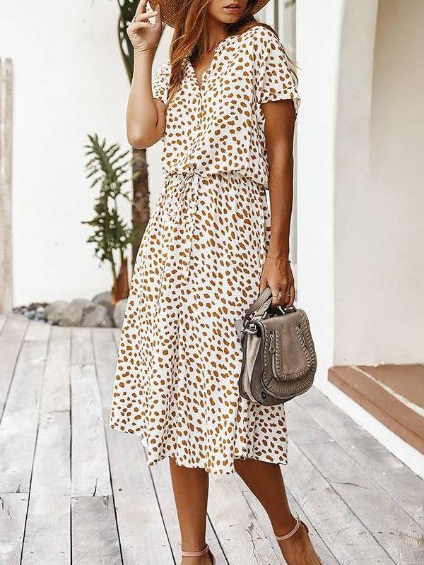 Dots print white short sleeve tunic vintage boho beach midi dress