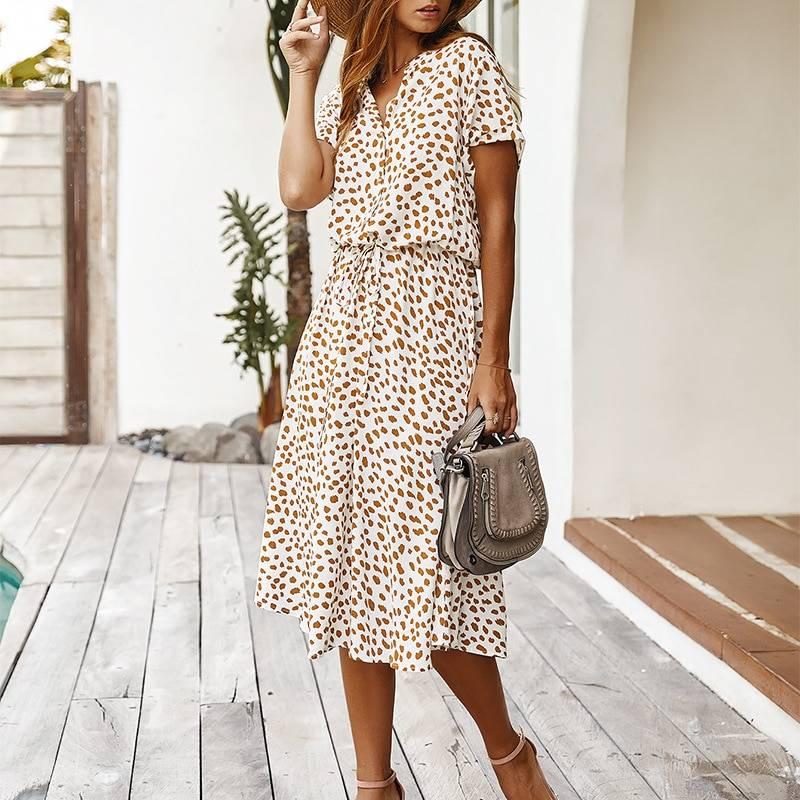 Dots Print White Short Sleeve Tunic Vintage Boho Beach Midi Dress 8