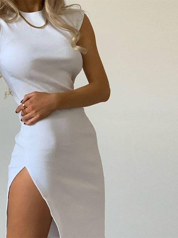 Vintage white black split office dress