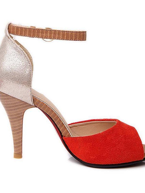 Pu summer color block decoration small open toe sandals