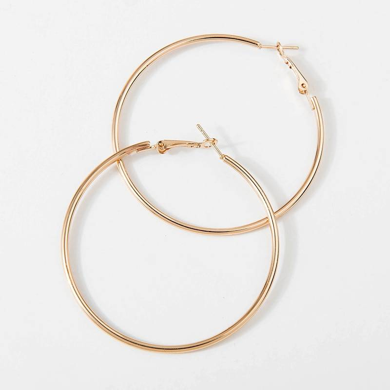 Big smooth circle hoop earrings