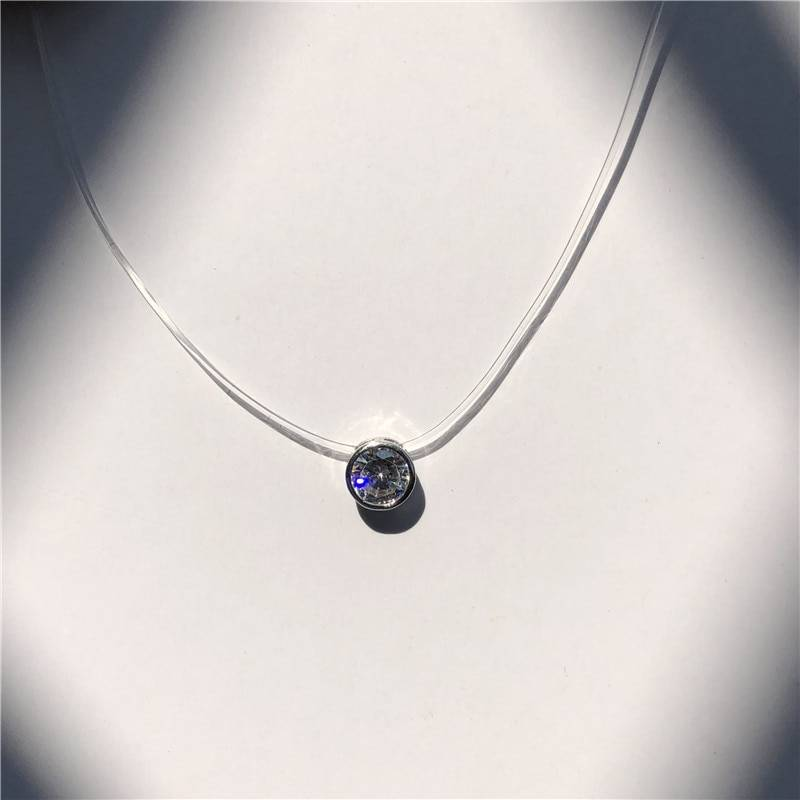 Pearl crystal zircon transparent fishing line necklace