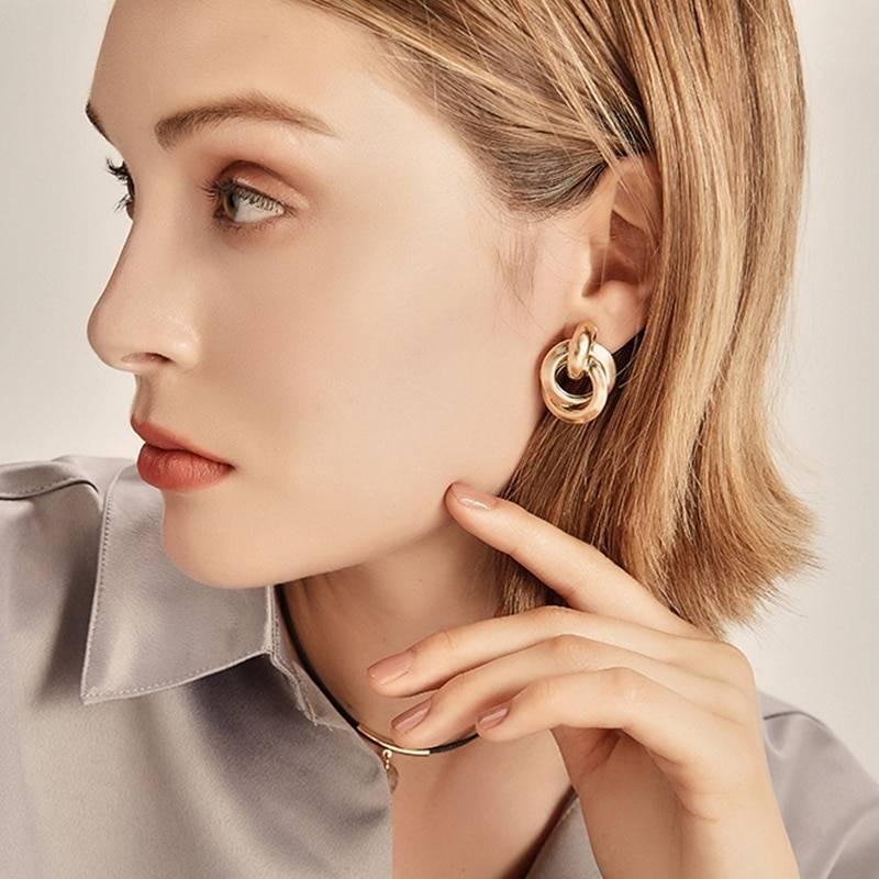 Elegant Simple Gold Alloy Drop Earrings 5
