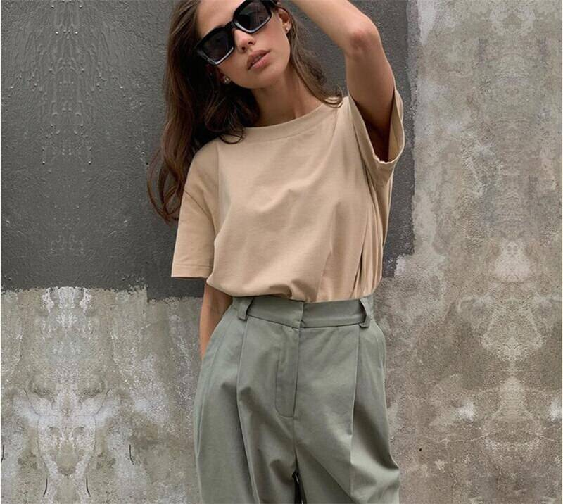 Hirsionsan Basic Cotton T Shirt Women Summer New Oversized Solid Tees 7 Color Casual Loose Tshirt Korean O Neck Female Tops