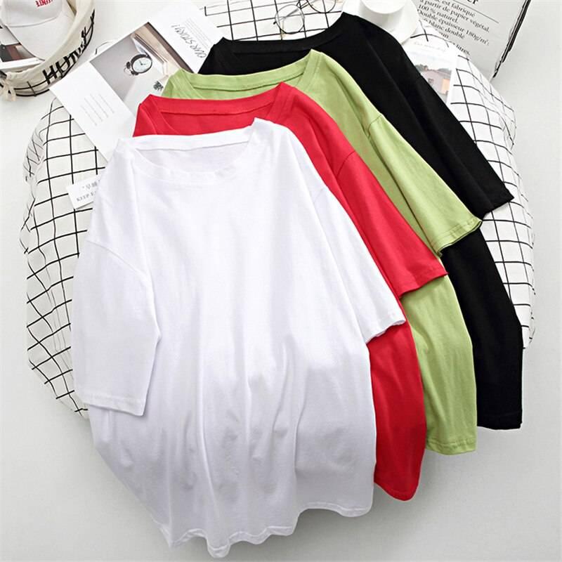 O neck loose basic cotton t shirt