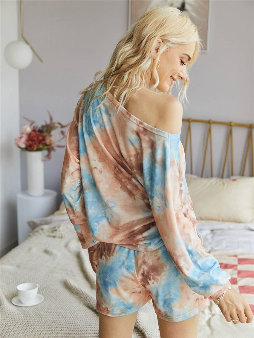 Original Design Fashion Print Casual Top Shorts Two-Piece Suit Tie Dye Set Women Clothes Loose Summer спортивныйкостюмженск