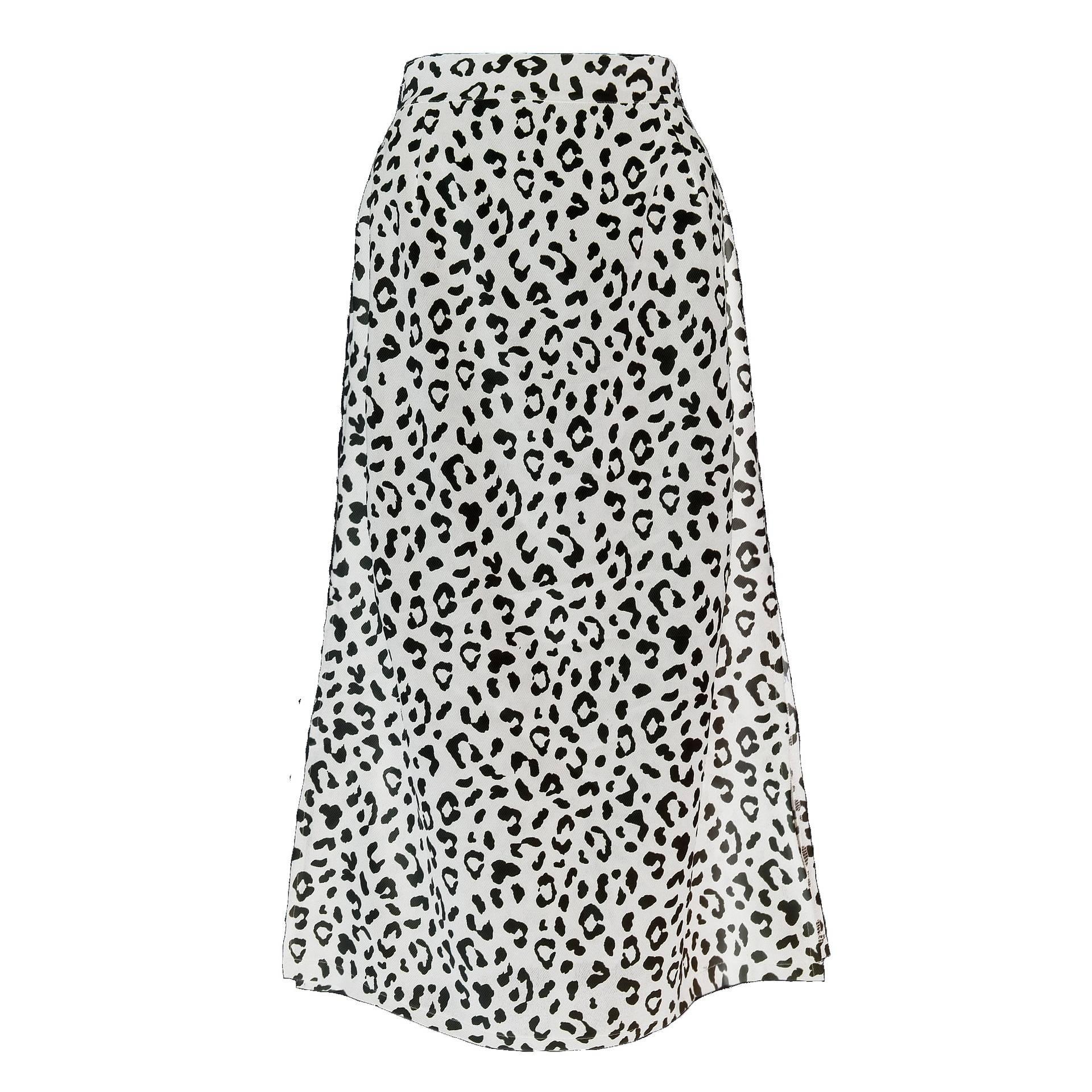 Leopard print chiffon split long skirt