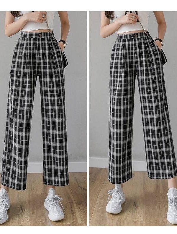 Vintage plaid elastic waist wide leg pants