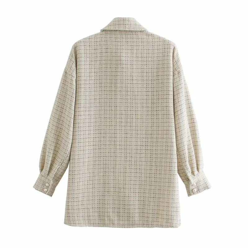 ZXQJ tweed women vintage oversize plaid long shirts 2020 autumn chic ladies streetwear loose shirt elegant female outfits girls