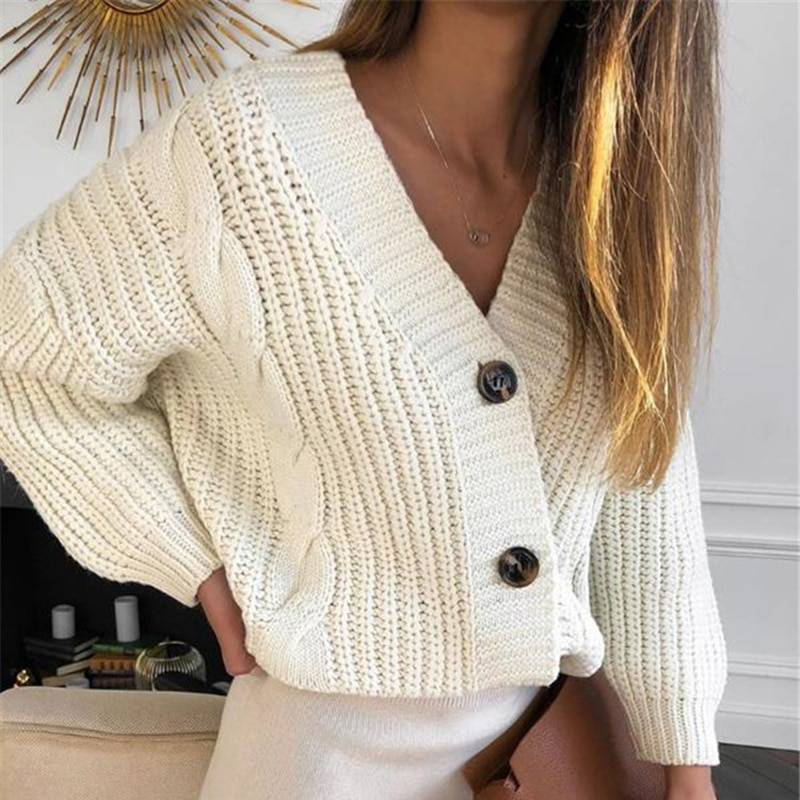 Long Sleeve Button Knitted Cardigan Sweater 1