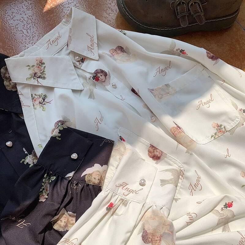 Deeptown Harajuku Angel Print Womens Shirt Vintage Elegant Blouse Women Autumn 2020 Lantern Sleeve Female Clothes Loose BF Shirt