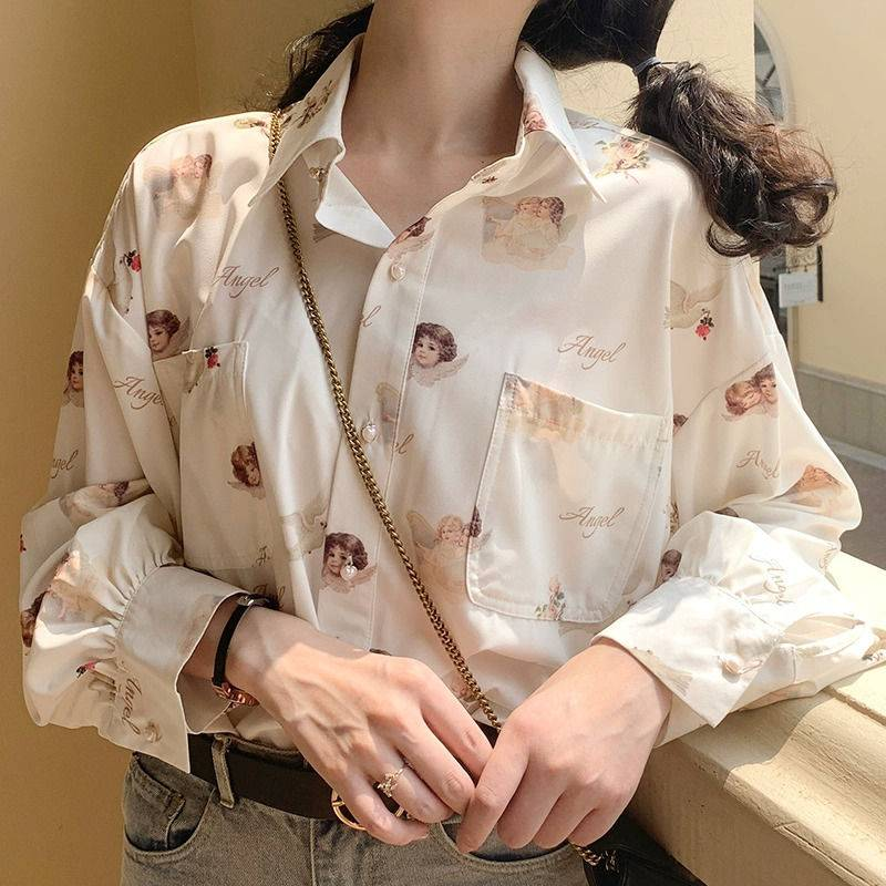 Vintage angel print lantern sleeve loose blouse shirt