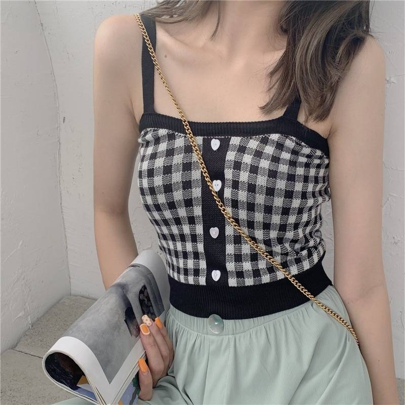 Sleeveless Plaid Crop Top With Buttons 3