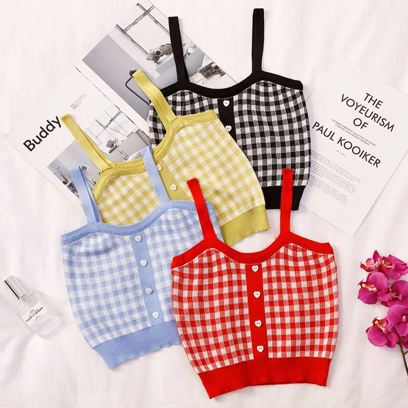 Sleeveless Plaid Crop Top With Buttons 4