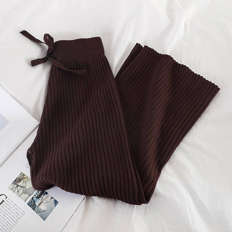 Lace up stretch waist casual loose wide leg knitted pants