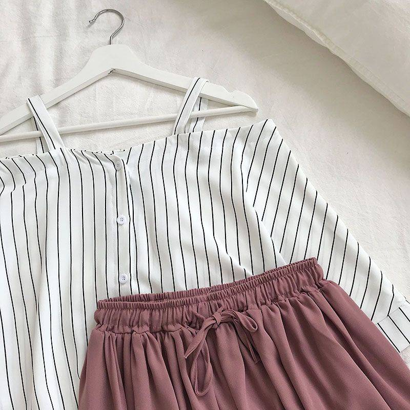 Striped off-the-shoulder loose blouse top + elastic waist shorts two piece set