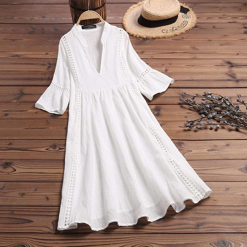 Flare sleeve bohemian v neck shirt dress