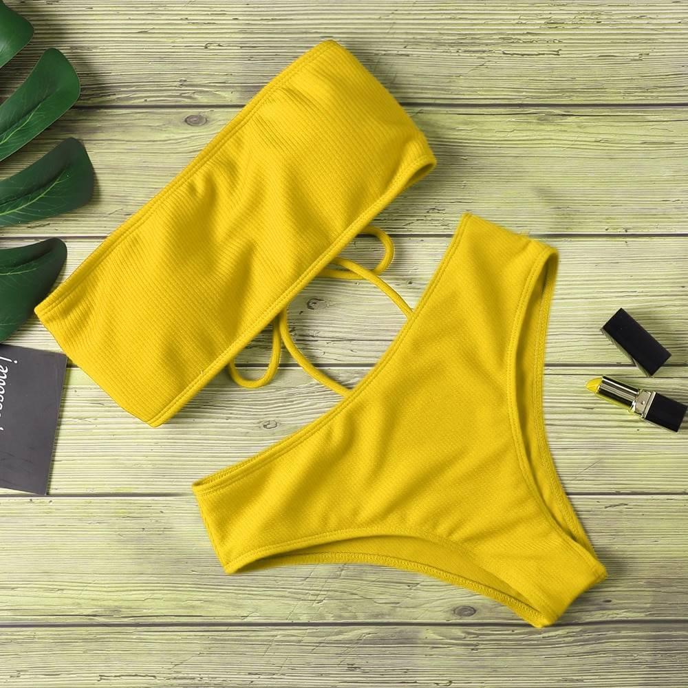 High waist strapless pure color padded bikini swimsuit