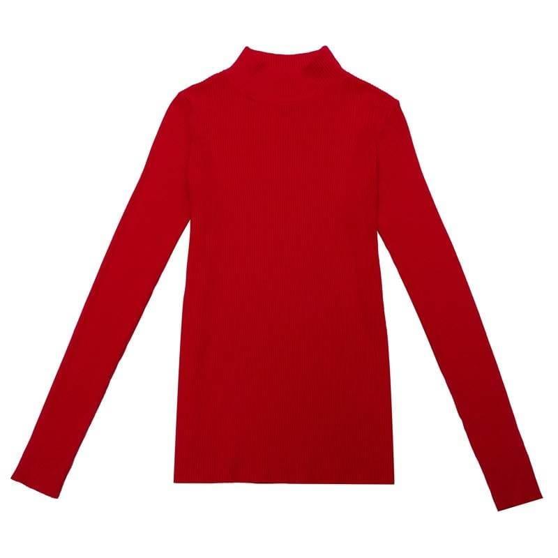 Turtleneck long sleeve slim-fit pullover sweater