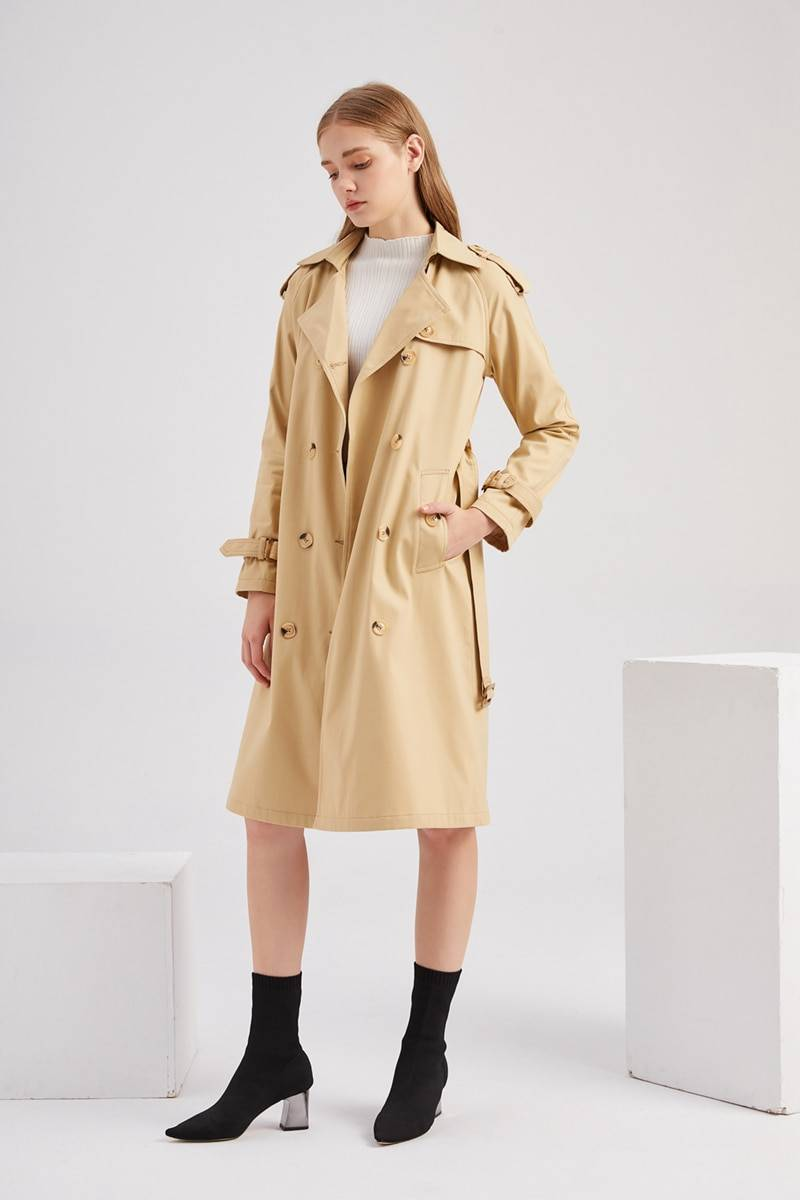 Classic double breasted cotton long trench coat