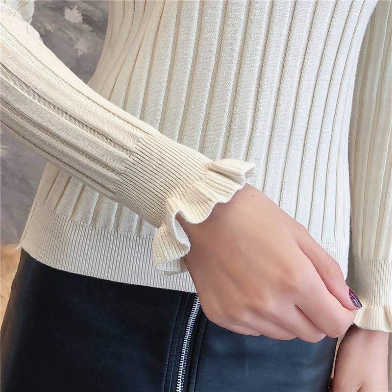 Elegant half turtleneck butterfly sleeve knitting lace up basic sweater