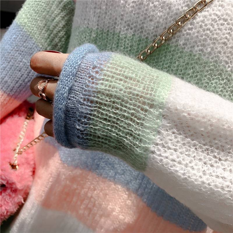 V neck long sleeve rainbow striped knitted loose pullover sweater