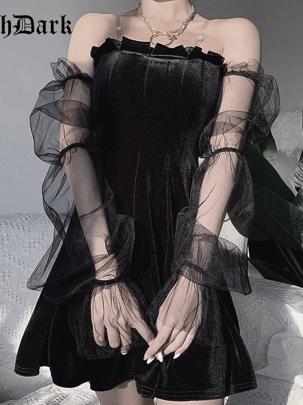 Chic punk hip hop grunge mesh vintage gothic pleated dress