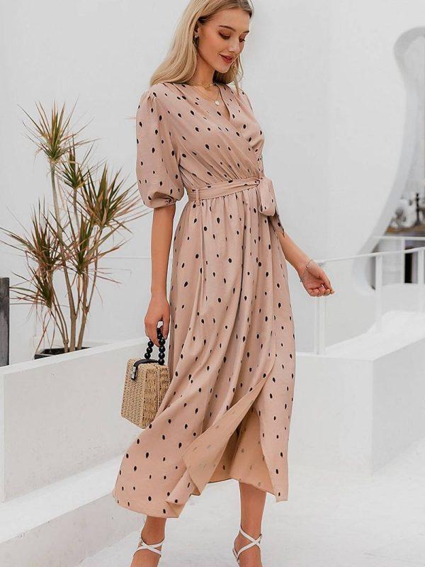 Elegant polka dot puff sleeve a line v neck sash wrap work dress