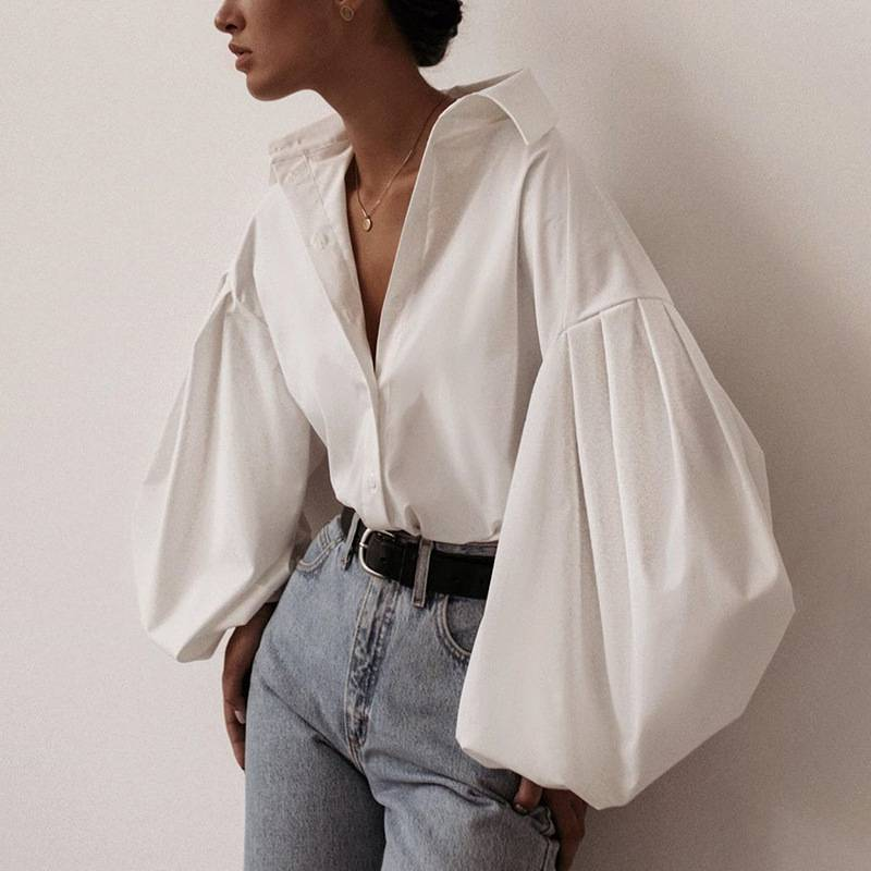Hot sale 2020 Autumn New women blouses Lantern Sleeves lapel Streetwear fashion Casual wild Loose Slim button simple Solid shirt