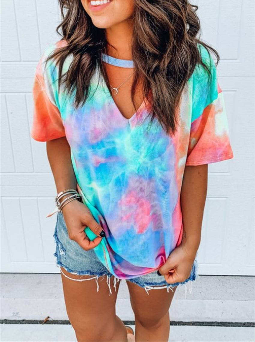 Hollow out tie dye short sleeve t-shirt