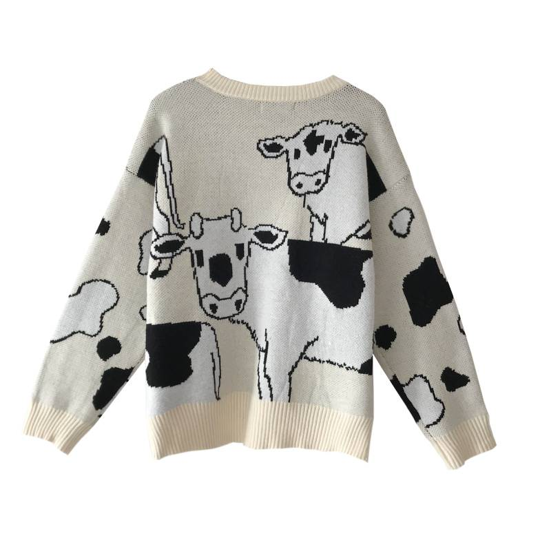 Vintage casual loose lazy cow sweater