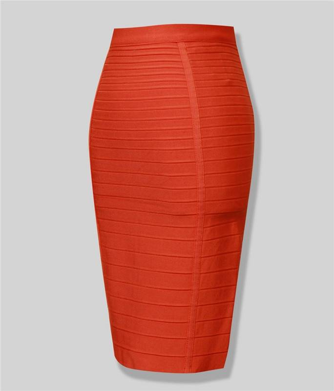 Black red blue orange zipper bodycon rayon bandage skirt