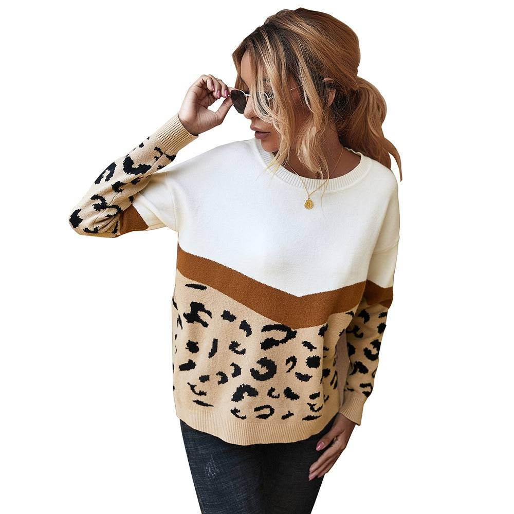 Leopard o-neck full sleeve pullover patchwork knitted sweater