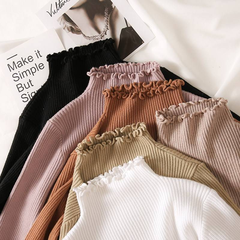 Turtleneck ruched high elastic knitted pullover sweater