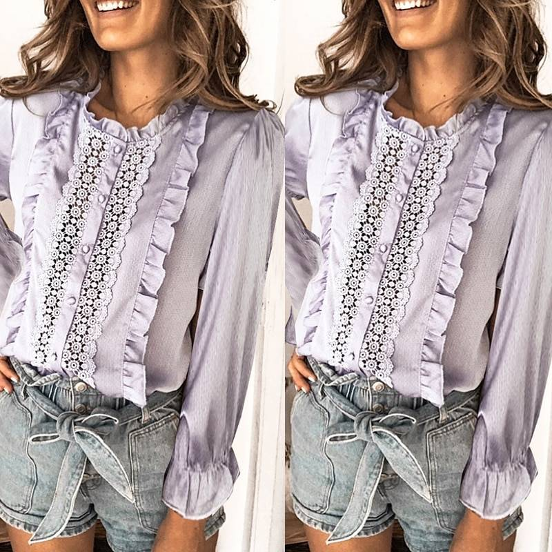 BerryGo Summer floral cotton white blouse Vintage hollow out female office ladies tops Casual lace long sleeve blouse shirts