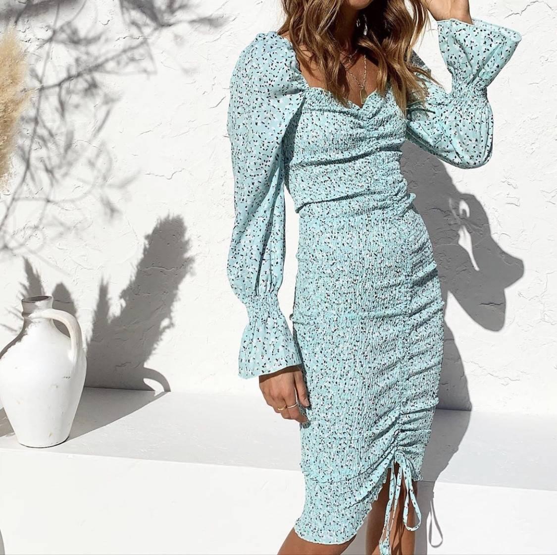 Elegant dot print long sleeve lacing up elastic ruched dress