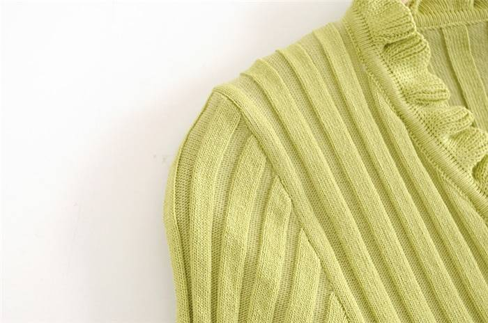 Chic knitted v-neck single breasted cardigan sweater