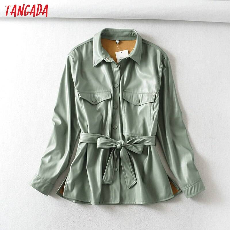 Light green long sleeve loose faux leather jacket coat with belt