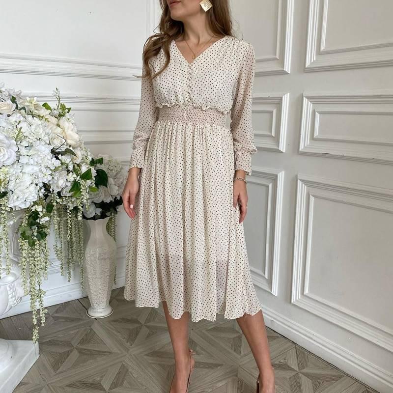 Elegant floral print puff sleeve a-line v neck sash high waist work office dress