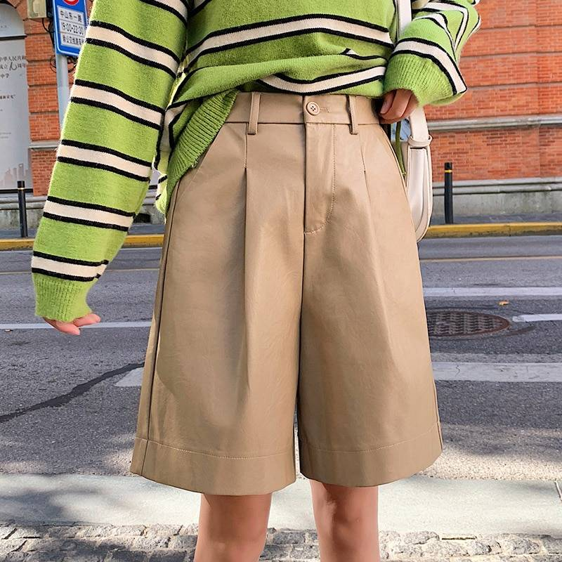PU Leather Elastic Waist Loose Shorts 7
