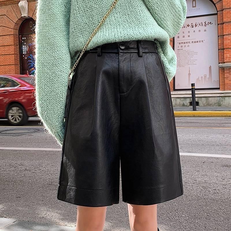 PU Leather Elastic Waist Loose Shorts 6