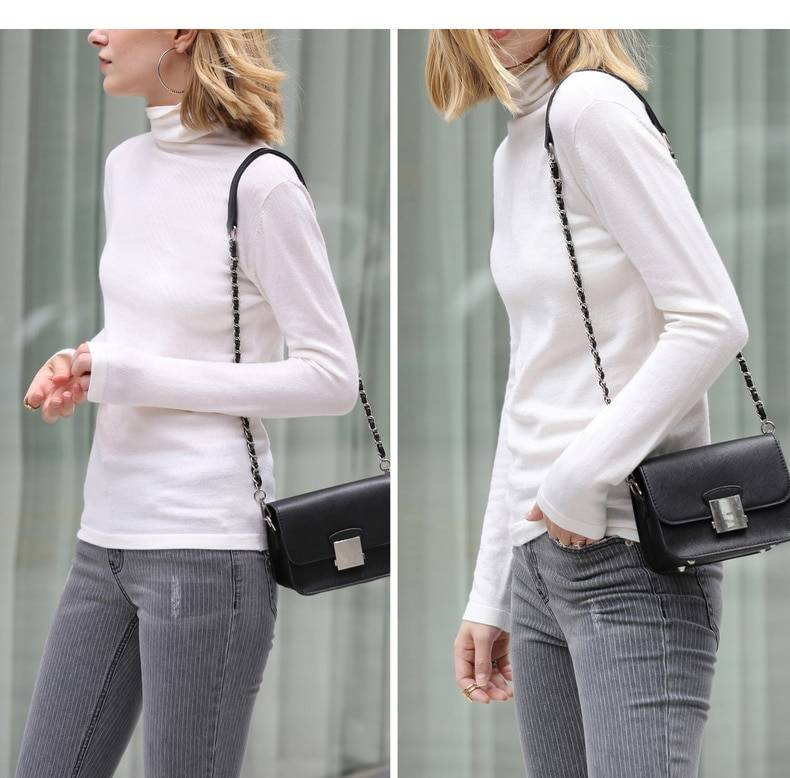 Amii Spring Women's turtleneck Solid colour full sleeve slim fit wool sweater female clothes winter knit sweater tops 11820098