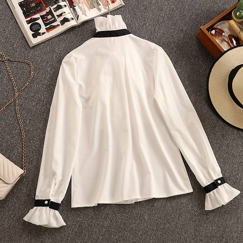 2 Piece Set Elegant Ruffles Chiffon Bow Shirt Top+Double Breasted Plaid Tweed Vest Dress 3