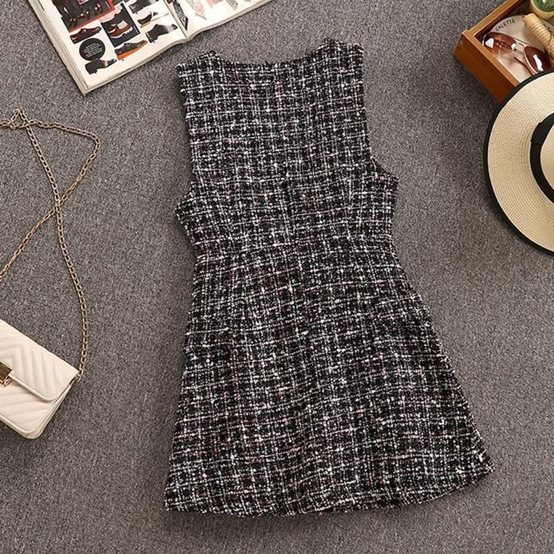 2 Piece Set Elegant Ruffles Chiffon Bow Shirt Top+Double Breasted Plaid Tweed Vest Dress 5
