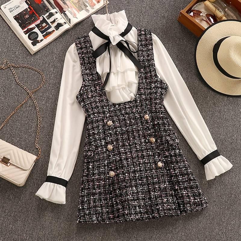 2 Piece Set Elegant Ruffles Chiffon Bow Shirt Top+Double Breasted Plaid Tweed Vest Dress 1