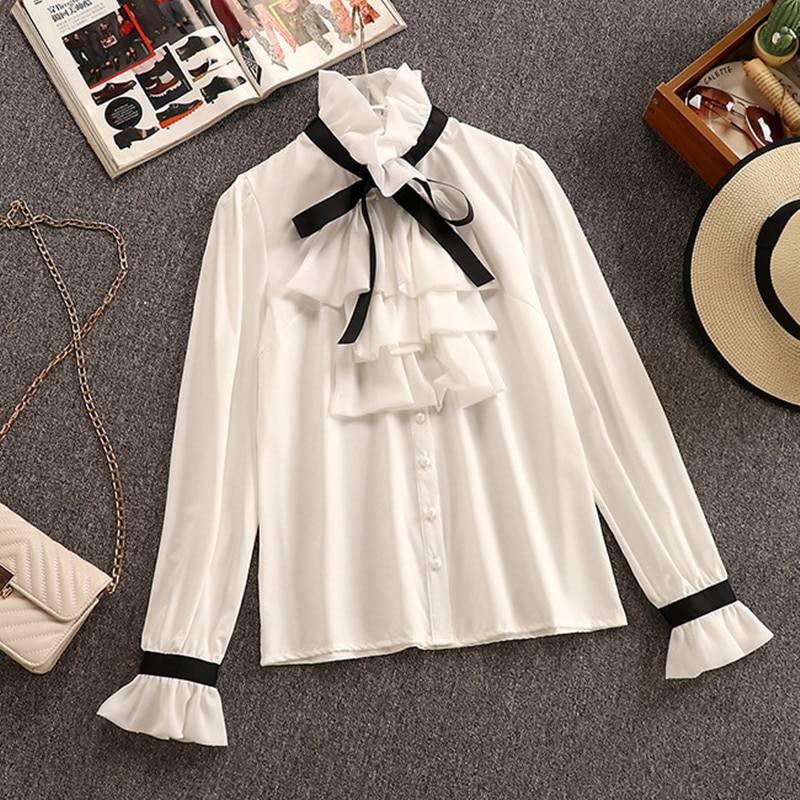 2 Piece Set Elegant Ruffles Chiffon Bow Shirt Top+Double Breasted Plaid Tweed Vest Dress 2