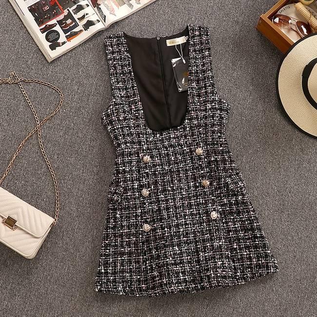 2020 Autumn Winter 2 Piece Set Overalls Dress Women Elegant Ruffles Chiffon Bow Shirt Top+Double Breasted Plaid Tweed Vest Dress